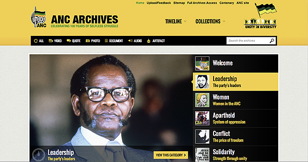 Screen grab from the ANC Archives Public Site built by Creative Spark