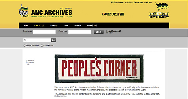 The ANC Archives Research Site developed by Africa Media Online as a web interface to the full ANC Digital Archive stored on their MEMAT 3 archival digital repository system