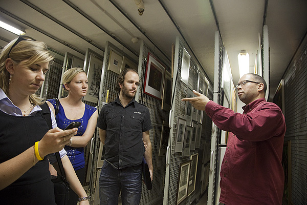 Archivist Mark Snyders of NAHECS at the University of Fort Hare introduces the ANC archive to from left Catherine Murray of Creative Spark and Grace Coates and Alastair Mason of Doxa Productions during a fact finding trip to NAHECS ahead of the project to digitise the ANC Archives. PHOTO: David Larsen / Africa Media Online