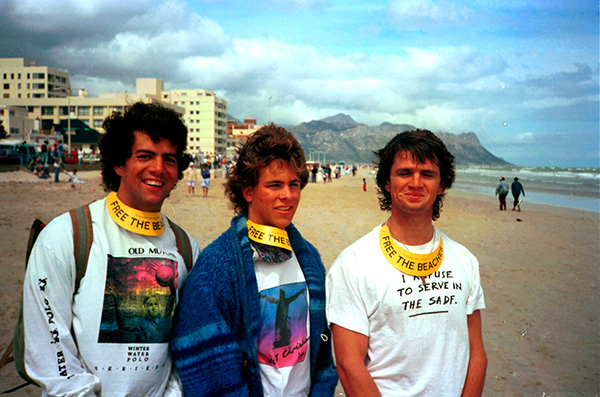 Craig Stewart, me and Henri van der Merwe at a beach demonstration at the Strand in 1989 led by Alan Boesak. We were students at UCT at the time. Craig recruited students to teach in the Khayamnandi Boys Home in Langa, Cape Town for the Baptist Student's Union, which I was involved in, and went on to found The Warehouse, an NGO that tackles poverty and injustice in Cape Town.