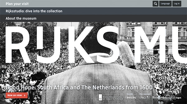 "The splash page of the Rijksmuseum website showcasing the new ""Goede Hoop: South Africa and the Netherlands from 1600"" exhibition. The Rijksmuseum website is purposefully picture driven with large pictures that show close detail"