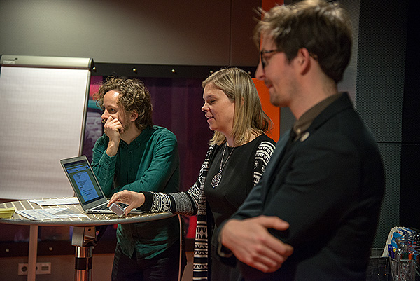 Kara Van Malssen, a partner and senior consultant at AVPreserve, lecturing at The Winterschool for Digital Archiving 2017, which was held in the fabulous mulitcoloured glass structure of Beeld en Geluid, The Netherlands Institute for Sound and Vision. Kara is flanked by the other two lecturers in the Winterschool, Peter Bubestinger-Steindl (far) a project lead and developer in the field of digital archiving and Erwin Verbruggen, who works in The Netherlands Institute for Sound and Vision's department for research and development and headed up the Winterschool. Every day the Institute digitally archives all of The Netherland's public television and radio stations as well as a number of private stations. In the bowels of the building over 10 Petabytes of data are stored on LTO6 tape which is backed up to a similar facility in another building about a mile away.