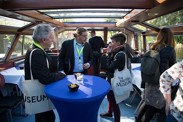 "Conference delegates also got to see the city by boat. Robert Erdmann, Senior Scientist, Rijksmuseum, Amsterdam, The Netherlands (centre) is seen here interacting with colleagues during a boat cruise around the canals of Amsterdam. Robert presented a paper on ""Pushing the Boundaries of Image Processing and Visualization for Cultural Heritage at the 2+3D Photography - Practice and Prophecies conference held at the Rijksmuseum in May 2017."