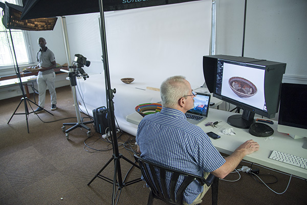 Scott Cronwright assisted by Sandile Mhongo, operating our Phase One XF camera tethered to a computer. The camera allows us to set the range of focus and the number of focus points within that range to capture.