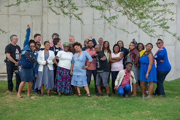 A somewhat less serious group photo of a wonderful group of people. In the centre in the pink shirt Bandile Sizani who had recently joined the Africa Media Online team.