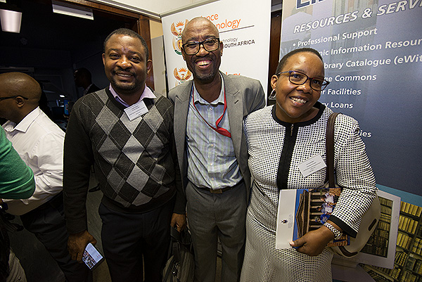 Isaac Nkadimeng, Principal Curator: Archives and Digitisation at University of the Witwatersrand (centre) with Dr Connie Bitso (right), University Librarian at the University of Fort Hare and Ayodele O. Ladokun (left), Lecturer in Computer Literacy at the University of Fort Hare.