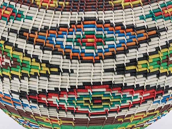Detail of an object zoomed in to 100% in Photoshop to show the detail captured by the Africa Media Online digitisation team. File Name: PHM_20161018_20308.tif, Item: Unlidded telephone wire basket, Provenance: Inanda.