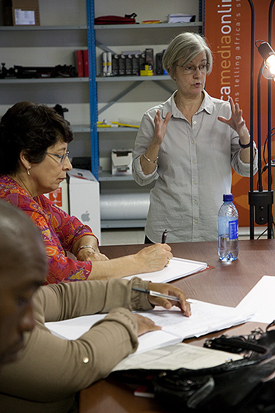 Digital libraries specialist, Patricia Liebetrau, teaching at Africa Media Online's Heritage Digital Campus at the University of Fort Hare in March 2012. The Heritage Digital Campus was held at UFH while the digitisation of the ANC Archive was ongoing and included many members of the NAHECS unit at the University of Fort Hare to ensure the transfer of skills.