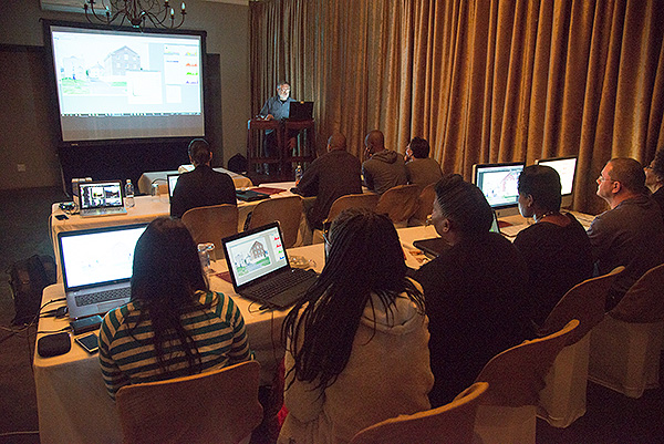 UK-based digital image consultant, Graeme Cookson teaching a class during Africa Media Online's Heritage Digital Campus 2016 held at the Hilton Bush Lodge. The 2016 Campus was specifically focused on Science Museums.